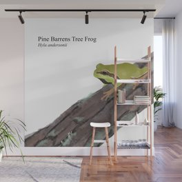 Pine Barrens Tree Frog (Hyla andersonii) on Pitch Pine Log Wall Mural