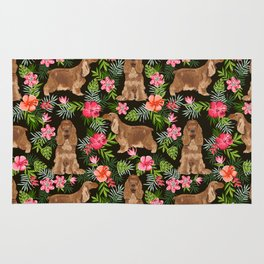 Cocker Spaniel hawaiian tropical print with dog breeds cocker spaniels Rug