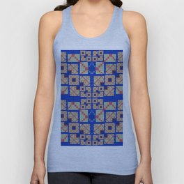 Retro Futuristic Modern Blue and Red Patchwork Geometry Unisex Tank Top