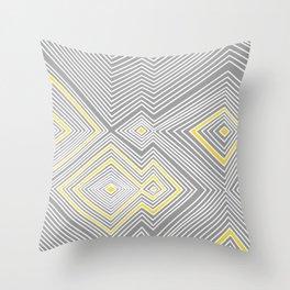 White, Yellow, and Gray Lines - Illusion Throw Pillow