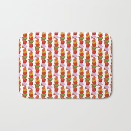 Grilled Veggies - BBQ Doodle Pattern in White Bath Mat