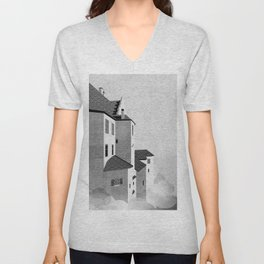Castle in the Sky | Black & White Unisex V-Neck