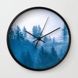 Blue Winter Day Foggy Trees Wall Clock