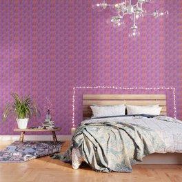 Gerbera Flower Pattern in Purple And Orange Wallpaper