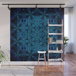 Turquoise Teal Delicate Flowers Wall Mural