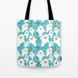 White cute fur seal and fish in water Tote Bag