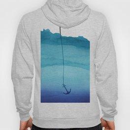 Cute Sinking Anchor in Sea Blue Watercolor Hoody