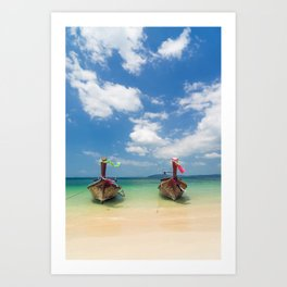 Long tail boats on the beach in Thailand Art Print