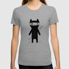 Ninja Cat MEDIUM Tri-Grey Womens Fitted Tee