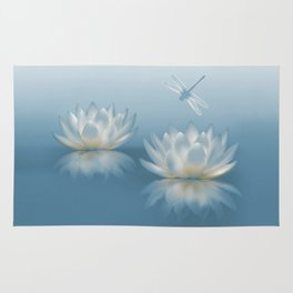 Blue Lotus and Dragonfly Rug