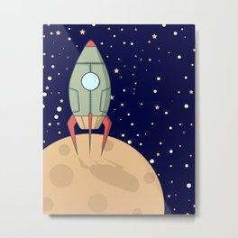 A retro rocket Metal Print