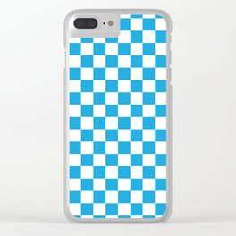 Oktoberfest Bavarian Large Blue and White Checkerboard Clear iPhone Case