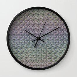 Silver Rainbow Mermaid Scales Wall Clock