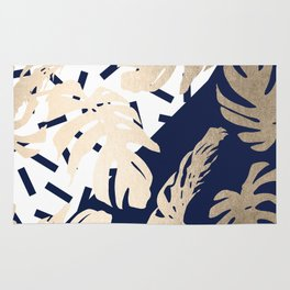 Simply Tropical Nautical Navy Memphis Palm Leaves Rug