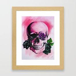 Skulls and Roses PINK Framed Art Print