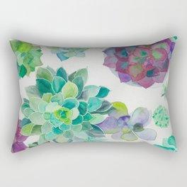 minimalist watercolor succulent arrangement Rectangular Pillow