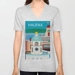 Halifax, Nova Scotia, Canada - Skyline Illustration by Loose Petals Unisex V-Neck