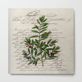 Chic paris scripts kitchen artwork french botanical leaf olive Metal Print