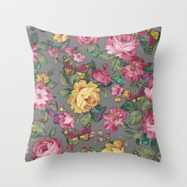 butterflies & roses Throw Pillow