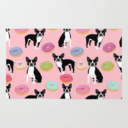 Boston Terrier donuts cute gifts for pure breed dog lover boston terriers owners Rug