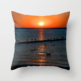 Summer Sunset on the Baltic Sea Throw Pillow