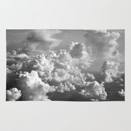Light Dancing through Soft Clouds - Black and White Rug