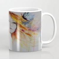 jennifer lawrence Mugs featuring Jennifer Lawrence Watercolor  by Halinka H