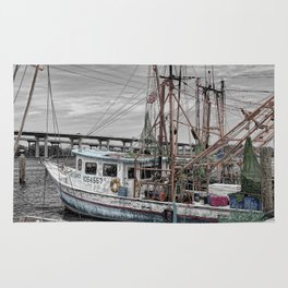 Fishing Boat in Harbor Rug