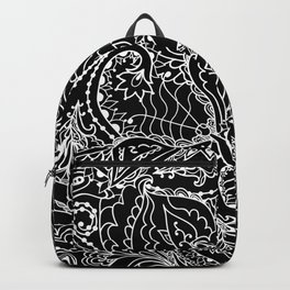 Hand painted abstract black white watercolor floral butterfly Backpack