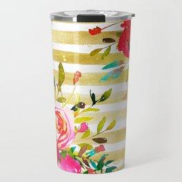 Flowers & Stripes 2 Travel Mug