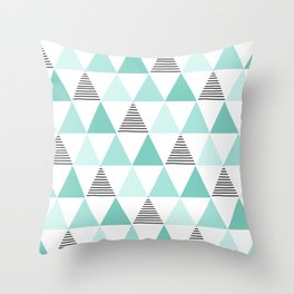 Black Stripes and Mint Triangles Throw Pillow