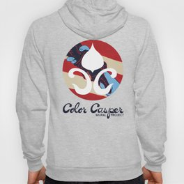 Red, White and Blue Color Casper Blooming Brush Logo Hoody
