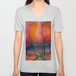 Nighttime Autumn Landscape Nature Art Unisex V-Neck