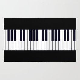 Piano Keys - Black and white simple piano keys pattern minimalistic music themed artwork Rug
