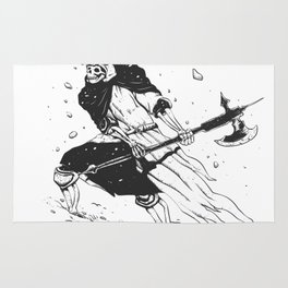 Skull knight in the snow - black and white - medieval grim reaper Rug
