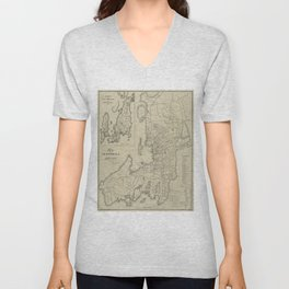 Vintage Map of Newport Rhode Island (1901) Unisex V-Neck