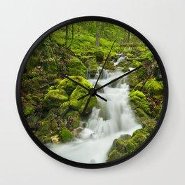 I - Waterfall in a lush gorge in Slovenský Raj, Slovakia Wall Clock