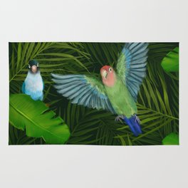 Lovebirds and tropical leafs Rug