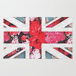 God save the Queen   Elegant girly red floral & lace Union Jack Rug