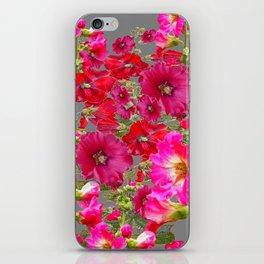 AWESOME FUCHSIA  RED HOLLYHOCKS GARDEN GREY ART iPhone Skin