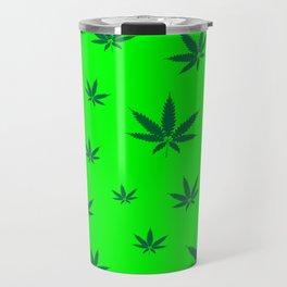 Cannabis Leaves Background Travel Mug