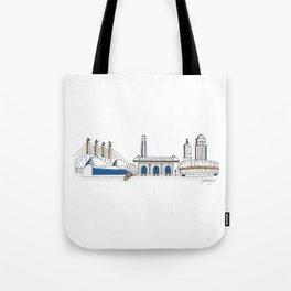 Kansas City Skyline Illustration in KC Royals Colors Tote Bag