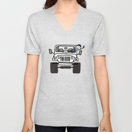 Jeep Wave White - Boy Unisex V-Neck
