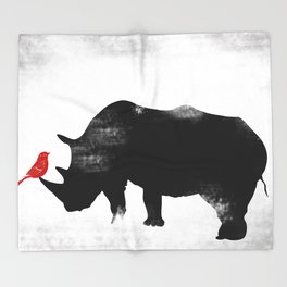 Rhino with bird Throw Blanket