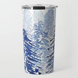 A snowy pine forest Travel Mug