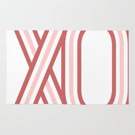 XO kiss hug (pink geometric stripes) Rug