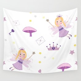 Cute Fairytale Pattern With Stars, Mushroom and Magic Wand Pattern Wall Tapestry