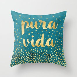 Pura Vida Gold on Teal Throw Pillow