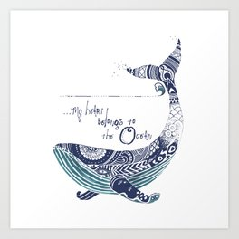 My Heart Belongs to the Sea - White & Indigo   Art Print