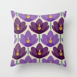 Crocus Flower Throw Pillow